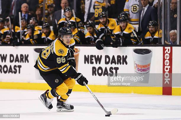 David Pastrnak of the Boston Bruins skates against the Detroit Red Wings during a shootout at TD Garden on March 12 2015 in Boston Massachusetts The...