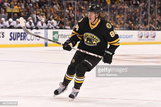 David Pastrnak of the Boston Bruins skates against the Los Angeles Kings at the TD Garden on January 31 2015 in Boston Massachusetts