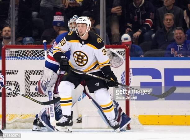 David Pastrnak of the Boston Bruins skates against the New York Rangers at Madison Square Garden on November 8 2017 in New York City The Rangers...