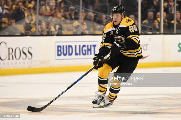 David Pastrnak of the Boston Bruins skates against the Ottawa Senators at the TD Garden on April 6 2017 in Boston Massachusetts