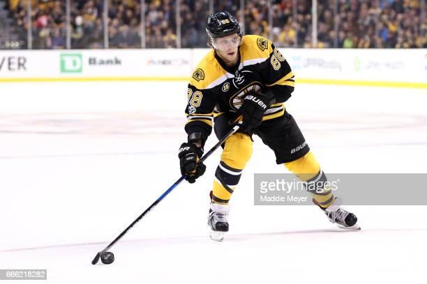 David Pastrnak of the Boston Bruins skates against the Ottawa Senators during the first period at TD Garden on April 6 2017 in Boston Massachusetts...