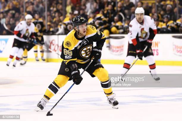 David Pastrnak of the Boston Bruins skates against the Ottawa Senators during the first period of Game Four of the Eastern Conference First Round...