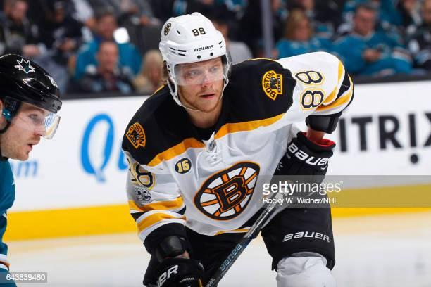 David Pastrnak of the Boston Bruins skates against the San Jose Sharks at SAP Center on February 19 2017 in San Jose California