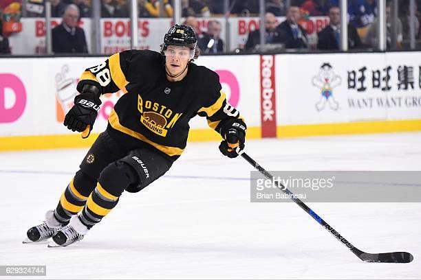 David Pastrnak of the Boston Bruins skates against the Toronto Maple Leafs at the TD Garden on December 10 2016 in Boston Massachusetts