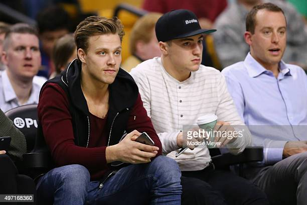 David Pastrnak of the Boston Bruins watches the game between the Boston Celtics and the Indiana Pacers at TD Garden on November 11 2015 in Boston...