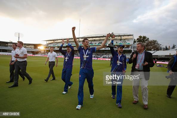 David Payne and Jack Taylor of Gloucester celebrate with the trophy during the Royal London One Day Cup Final between Gloucestershire and Surrey at...