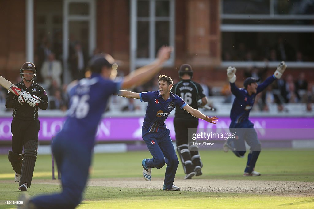 David Payne of Gloucester celebrates taking the final wicket of Gareth Batty of Surrey during the Royal London One Day Cup Final between...