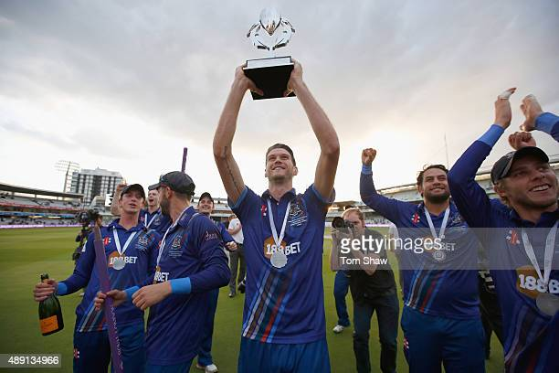 David Payne of Gloucester celebrates with the trophy during the Royal London One Day Cup Final between Gloucestershire and Surrey at Lord's Cricket...