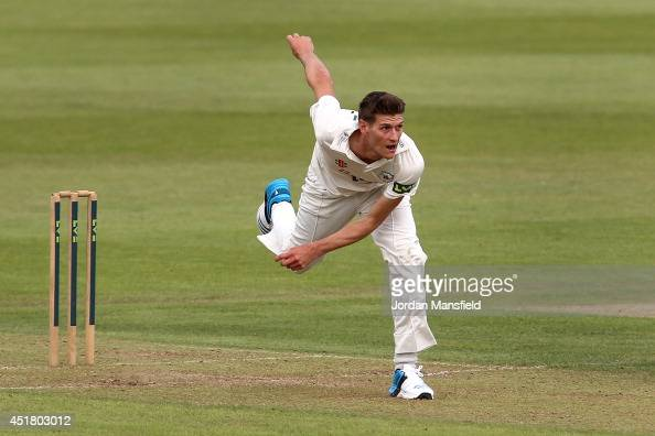David Payne of Gloucestershire bowls during day one of the LV County Championship match between Hamshire and Gloucestershire at the Ageas Bowl on...