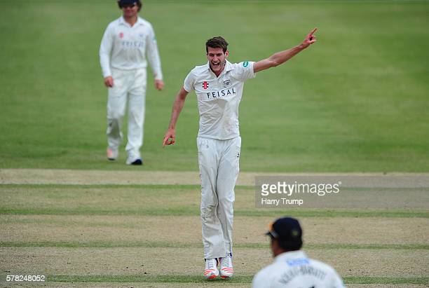 David Payne of Gloucestershire celebrates during Day Two of the Specsavers County Championship Division Two match between Gloucestershire and...