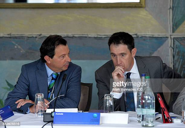 David Peever and James Sutherland of Australia during the ICC Full Council meeting at The Waldorf Astoria The Caledonian on June 30 2016 in Edinburgh...