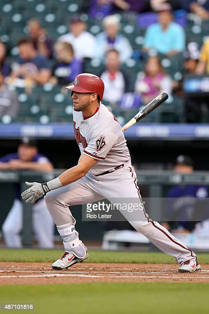 David Peralta of the Arizona Diamondbacks bats during the game against the Colorado Rockies at Coors Field on August 31 2015 in Denver Colorado The...