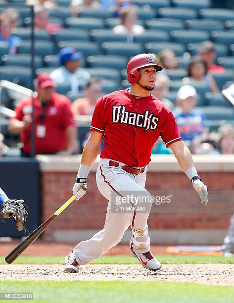 David Peralta of the Arizona Diamondbacks in action against the New York Mets at Citi Field on July 12 2015 in the Flushing neighborhood of the...