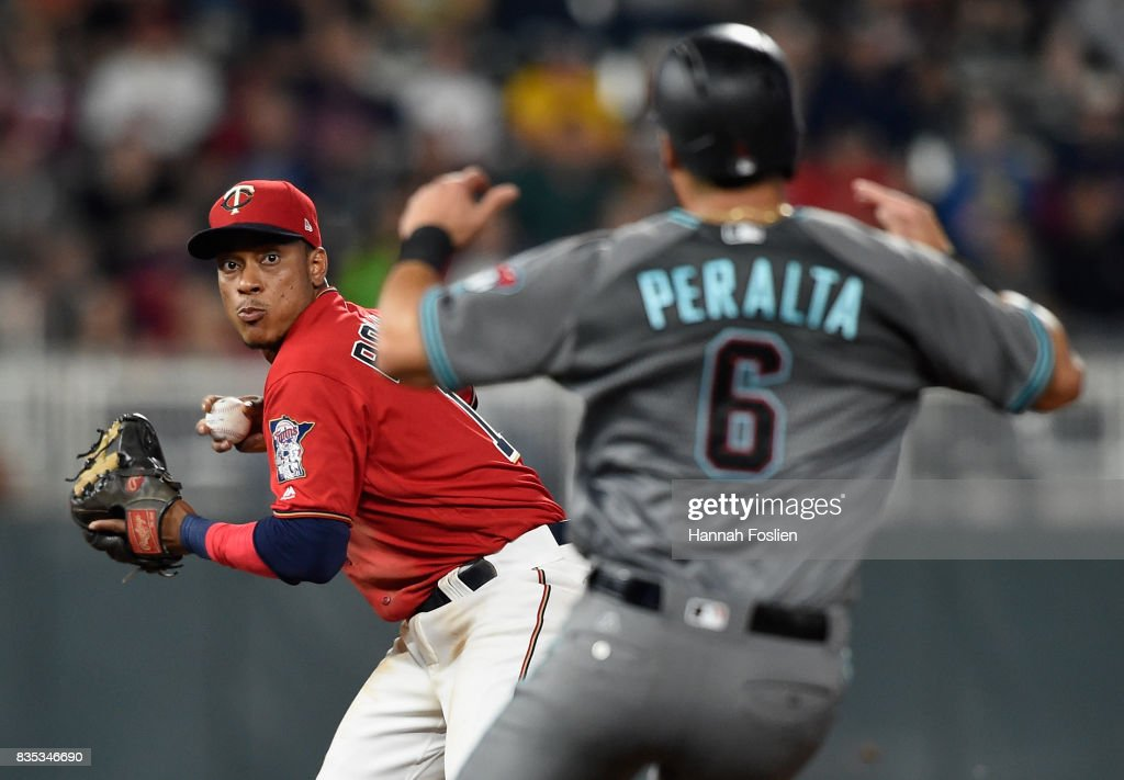 David Peralta #6 of the Arizona Diamondbacks is out at second base as Jorge Polanco #11 of the Minnesota Twins turns a double play during the seventh inning of the game on August 18, 2017 at Target Field in Minneapolis, Minnesota. The Twins defeated the Diamondbacks 10-3.
