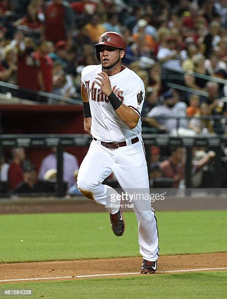 David Peralta of the Arizona Diamondbacks runs from third base to home against the San Francisco Giants at Chase Field on July 17 2015 in Phoenix...