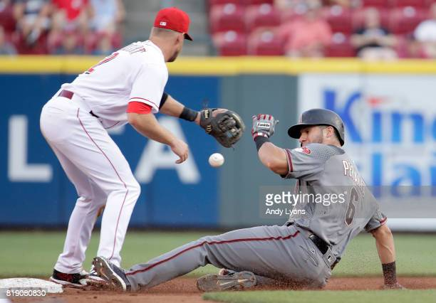David Peralta of the Arizona Diamondbacks slides safely into second base for a double in the third inning against the Cincinnati Reds at Great...
