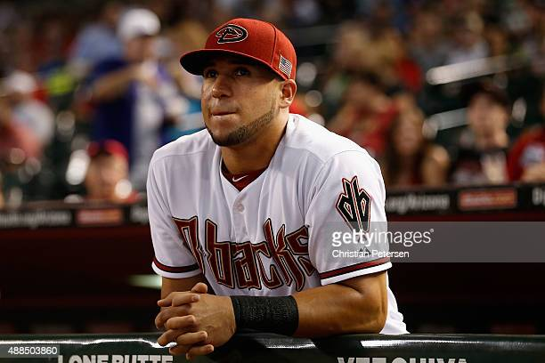 David Peralta of the Arizona Diamondbacks stands in the dugout before the MLB game against the Los Angeles Dodgers at Chase Field on September 11...