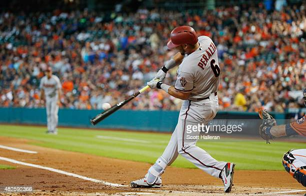 David Peralta of the Arizona Diamondbacks swings at a pitch in the first inning during their game against the Houston Astros at Minute Maid Park on...
