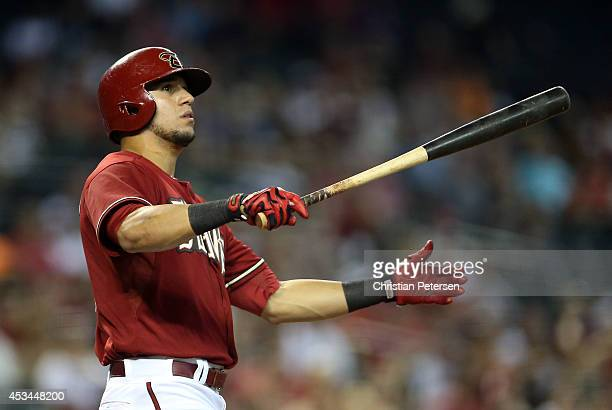 David Peralta of the Arizona Diamondbacks watches a foul ball as he bats against the Colorado Rockies during the first inning of the MLB game at...