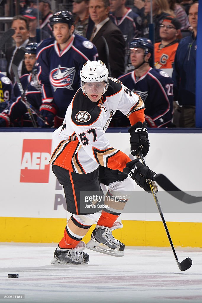 David Perron of the Anaheim Ducks contains a pass during the second period of a game against the Columbus Blue Jackets on February 11 2016 at...