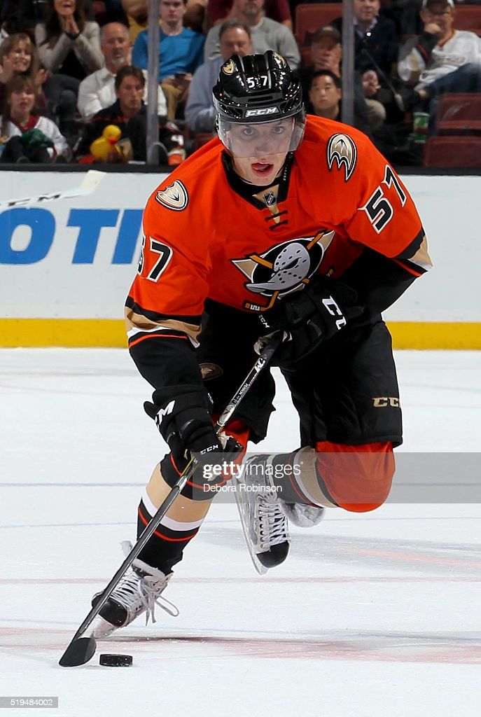 David Perron of the Anaheim Ducks handles the puck during the game against the New York Rangers on March 16 2016 at Honda Center in Anaheim California