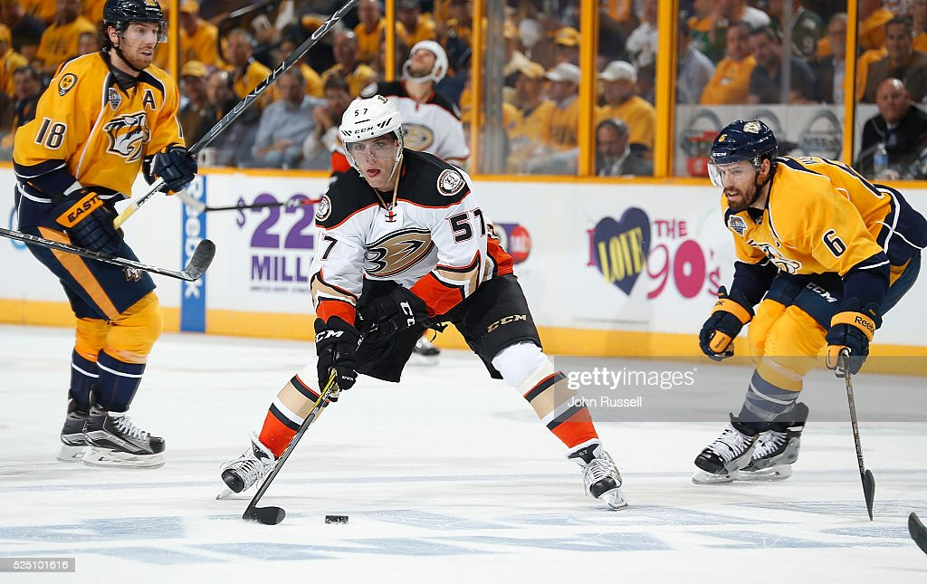 David Perron of the Anaheim Ducks skates against the Nashville Predators in Game Three of the Western Conference First Round during the 2016 NHL...