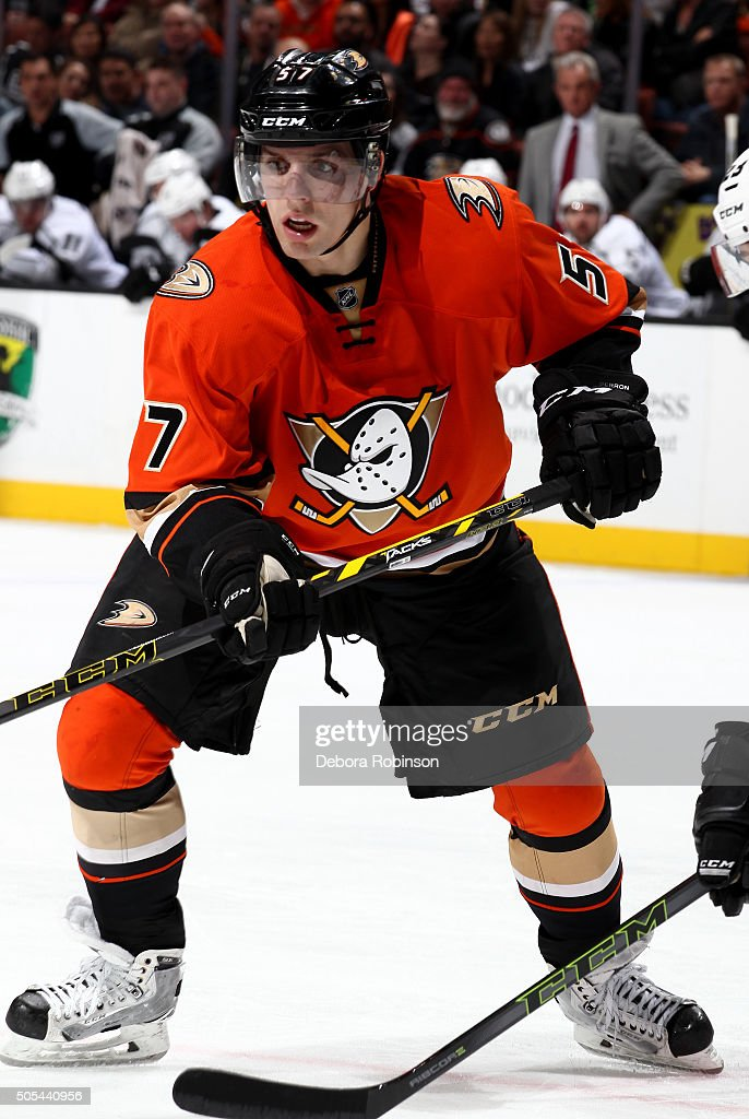 David Perron of the Anaheim Ducks skates during the game against the Los Angeles Kings on January 17 2016 at Honda Center in Anaheim California