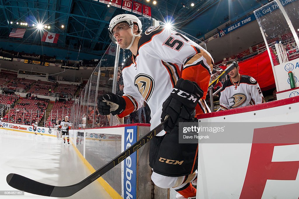 David Perron of the Anaheim Ducks takes the ice in warmups prior to an NHL game against the Detroit Red Wings at Joe Louis Arena on January 23 2015...