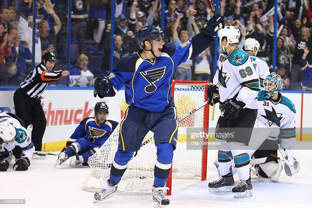 David Perron of the St Louis Blues celebrates his goal against the San Jose Sharks during Game Two of the Western Conference Quarterfinals during the...