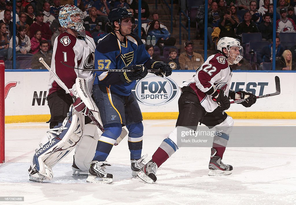 <a gi-track='captionPersonalityLinkClicked' href=/galleries/search?phrase=David+Perron&family=editorial&specificpeople=4282591 ng-click='$event.stopPropagation()'>David Perron</a> #57 of the St. Louis Blues takes up position between goalie <a gi-track='captionPersonalityLinkClicked' href=/galleries/search?phrase=Semyon+Varlamov&family=editorial&specificpeople=6264893 ng-click='$event.stopPropagation()'>Semyon Varlamov</a> #1 and <a gi-track='captionPersonalityLinkClicked' href=/galleries/search?phrase=Matt+Hunwick&family=editorial&specificpeople=2284766 ng-click='$event.stopPropagation()'>Matt Hunwick</a> #22 of the Colorado Avalanche in an NHL game on April 23, 2013 at Scottrade Center in St. Louis, Missouri.