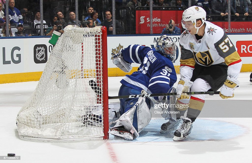 David Perron #57 of the Vegas Golden Knights is stopped on the final shot in the shootout by goalie Frederik Andersen #31 of the Toronto Maple Leafs during an NHL game at the Air Canada Centre on November 6, 2017 in Toronto, Ontario, Canada. The Maple Leafs defeated the Golden Knights 4-3 in an overtime shoot-out.