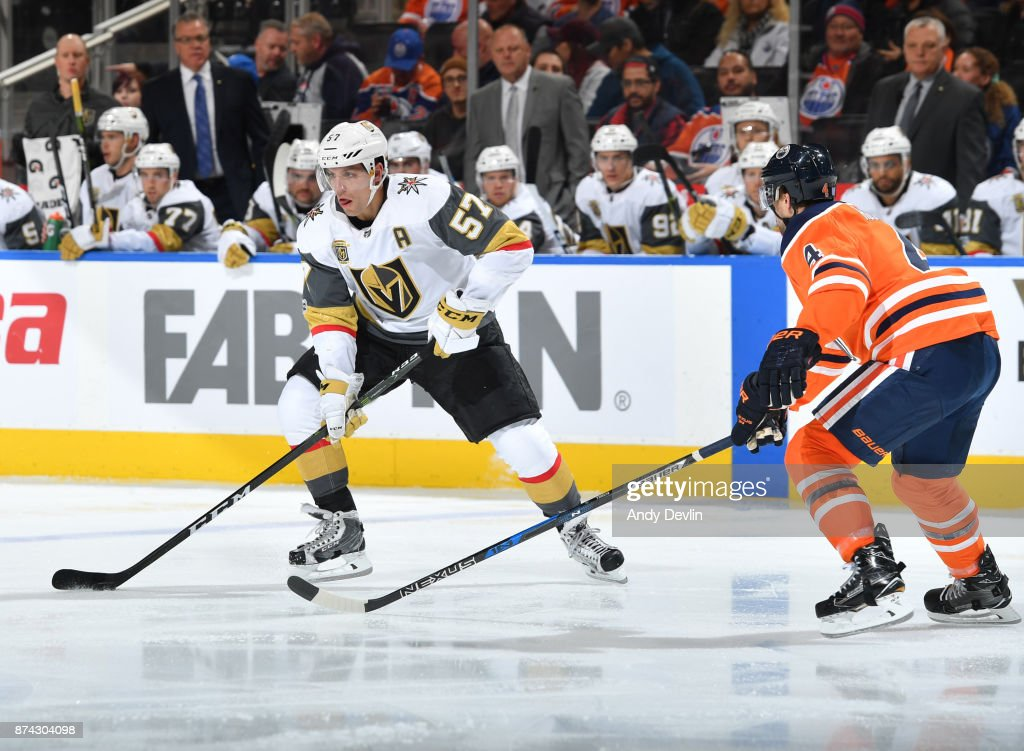 David Perron #57 of the Vegas Golden Knights skates during the game against the Edmonton Oilers on November 14, 2017 at Rogers Place in Edmonton, Alberta, Canada.