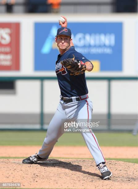 David Peterson of the Atlanta Braves pitches during the Spring Training game against the Detroit Tigers at Publix Field at Joker Marchant Stadium on...
