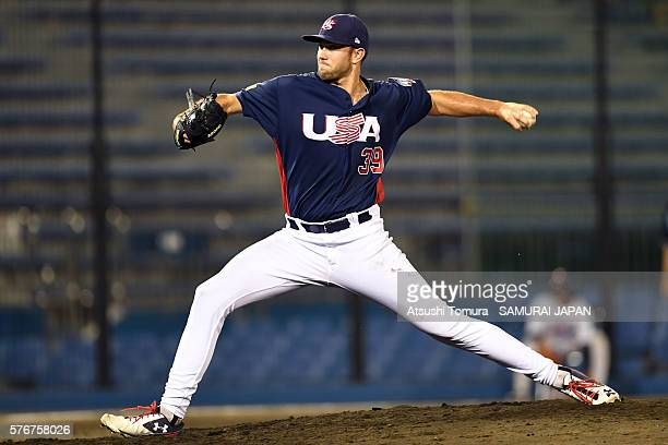 David Peterson of the USA throws a pitch in the bottom of fifth inning on the day 4 match between Japan v USA during the 40th USAJapan International...