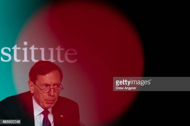 David Petraeus retired US Army General and former director of the Central Intelligence Agency speaks during a discussion on countering violent...