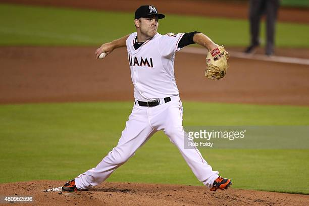 David Phelps of the Miami Marlins in action during the game against the Cincinnati Reds at Marlins Park on July 10 2015 in Miami Florida