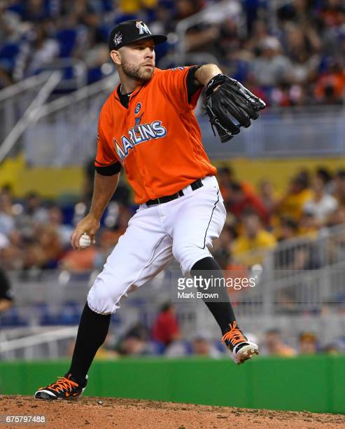 David Phelps of the Miami Marlins in action during the game between the Miami Marlins and the Pittsburgh Pirates at Marlins Park on April 30 2017 in...