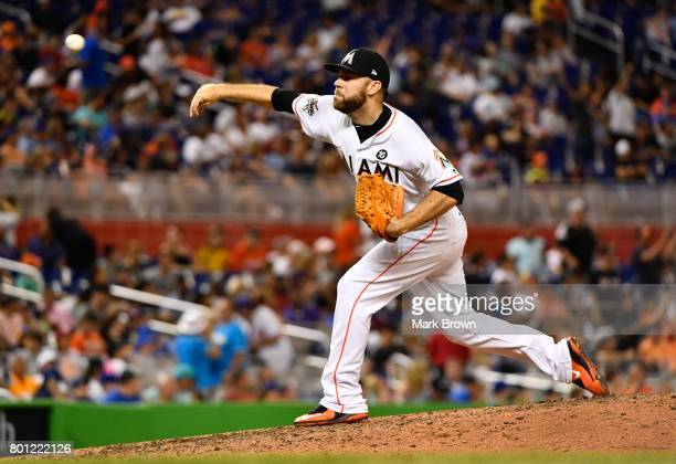 David Phelps of the Miami Marlins in action during the game between the Miami Marlins and the Chicago Cubs at Marlins Park on June 23 2017 in Miami...