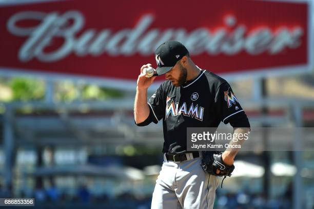 David Phelps of the Miami Marlins in the game against the Los Angeles Dodgers at Dodger Stadium on May 21 2017 in Los Angeles California