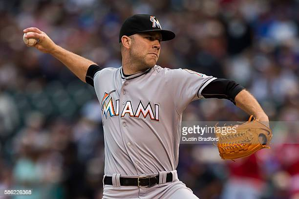 David Phelps of the Miami Marlins pitches against the Colorado Rockies in the first inning of a game at Coors Field on August 5 2016 in Denver...