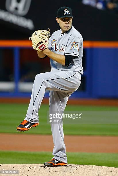 David Phelps of the Miami Marlins pitches against the New York Mets during their game at Citi Field on April 17 2015 in New York City