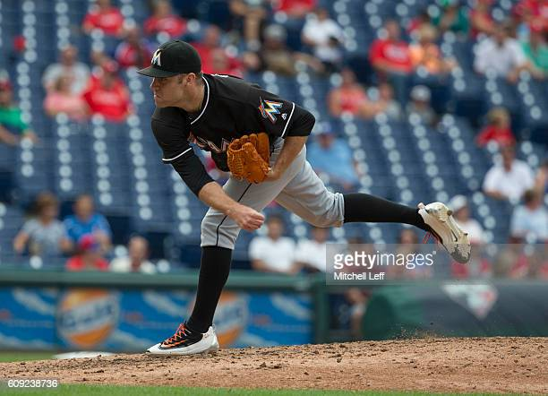 David Phelps of the Miami Marlins pitches against the Philadelphia Phillies at Citizens Bank Park on September 18 2016 in Philadelphia Pennsylvania...