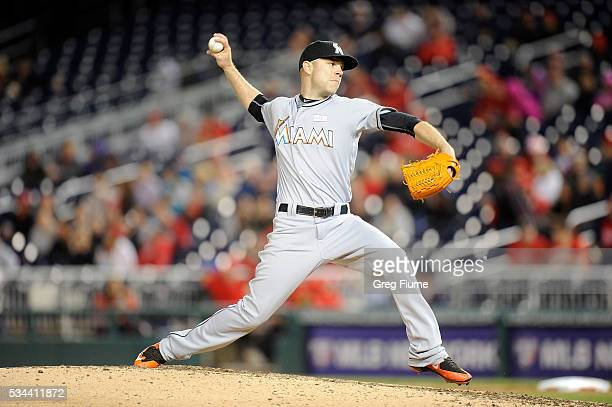 David Phelps of the Miami Marlins pitches against the Washington Nationals at Nationals Park on May 14 2016 in Washington DC