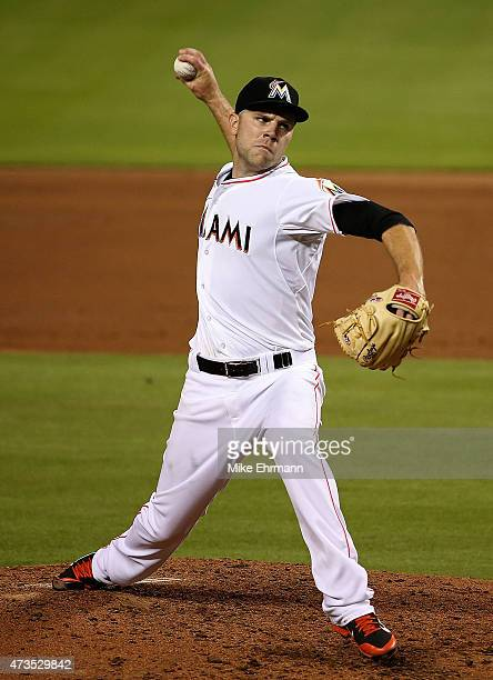 David Phelps of the Miami Marlins pitches during a game against the Atlanta Braves at Marlins Park on May 15 2015 in Miami Florida