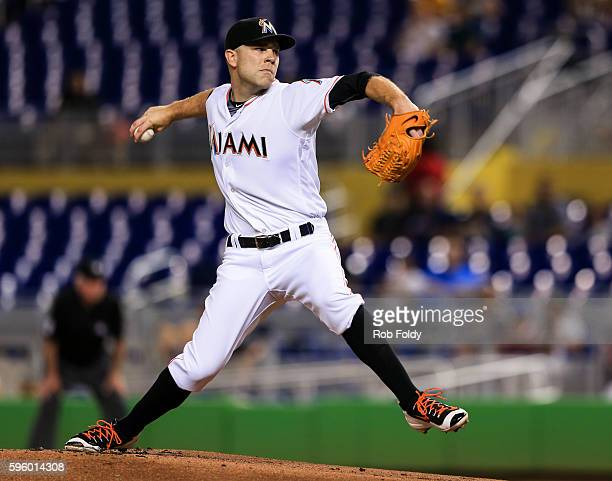 David Phelps of the Miami Marlins pitches during the first inning of the game against the San Diego Padres at Marlins Park on August 26 2016 in Miami...