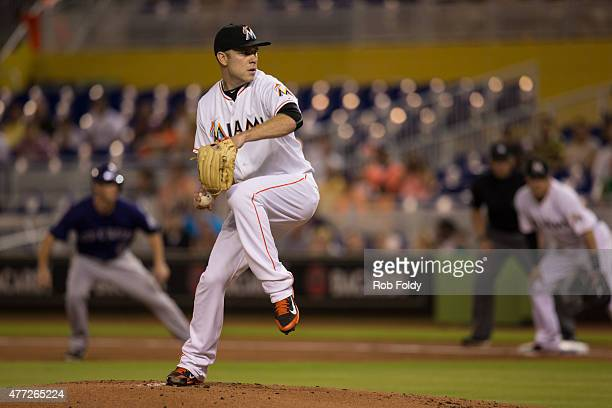 David Phelps of the Miami Marlins pitches during the game against the Colorado Rockies at Marlins Park on June 11 2015 in Miami Florida