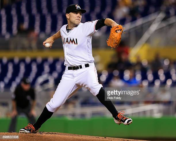 David Phelps of the Miami Marlins pitches during the game against the San Diego Padres at Marlins Park on August 26 2016 in Miami Florida