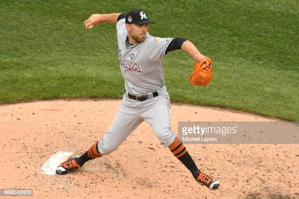 David Phelps of the Miami Marlins pitches during the game against the Washington Nationals at Nationals Park on April 3 2017 in Washington DC The...