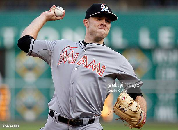 David Phelps of the Miami Marlins pitches in the first inning during the game against the Pittsburgh Pirates at PNC Park on May 25 2015 in Pittsburgh...