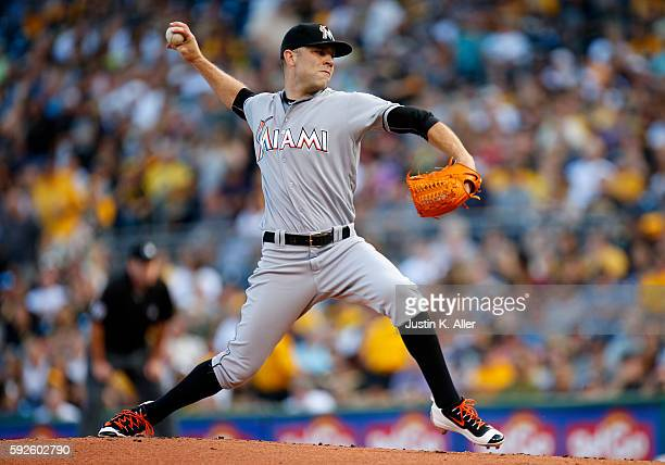 David Phelps of the Miami Marlins pitches in the first inning during the game against the Pittsburgh Pirates at PNC Park on August 20 2016 in...
